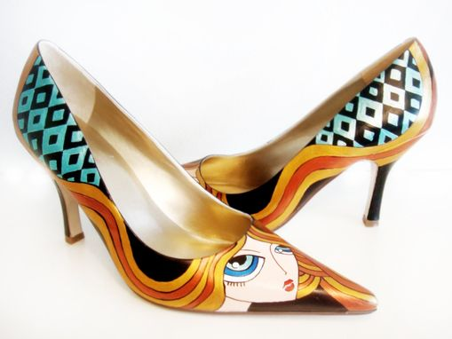 Custom Made Blond Girl Heels - Hand Painted Shoes