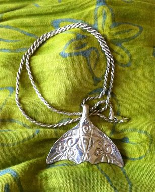 Custom Made Wisdom Pendant - Whale Tail Chased In .999 Silver