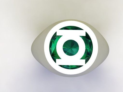 Custom Made Green Lantern Ring In Sterling Silver With Synthetic Emerald.