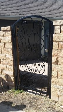 Custom Made Hand Wrought Aluminum Gate With Stems And Leaves