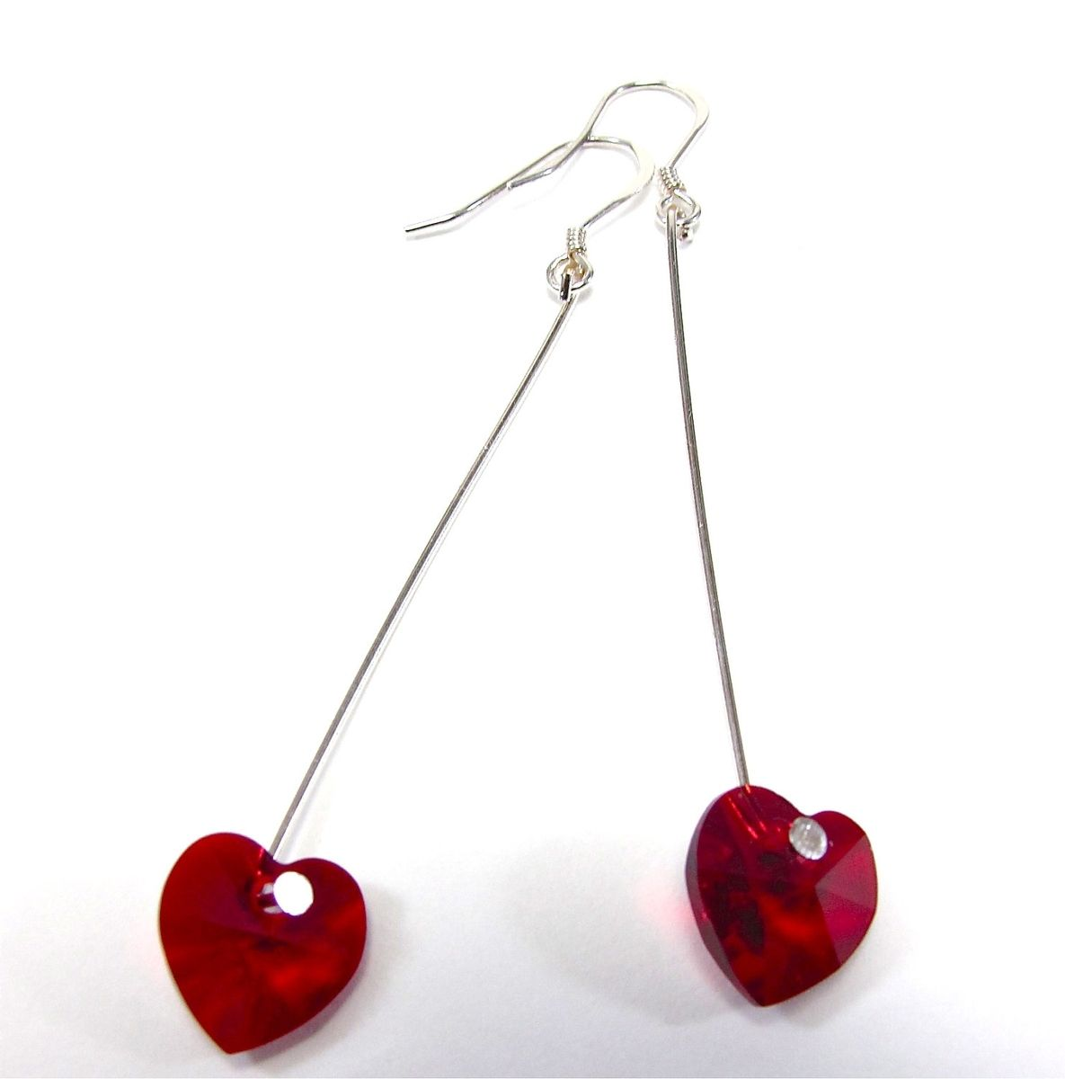 Custom Made Red Heart Earrings  Swarovski Crystal Hearts & Sterling Silver  Dangles  Simple &