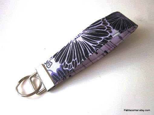 Custom Made Handmade Keyring Key Fob Or Key Holder Purple Black Flower, Vegan