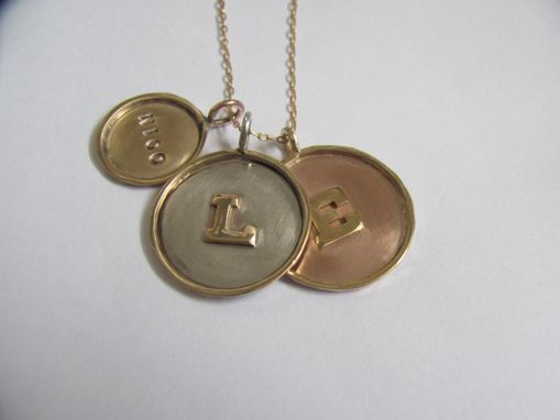 Custom Made 14k Gold Framed Disc Necklace With Three Charms And Two Raised Initials