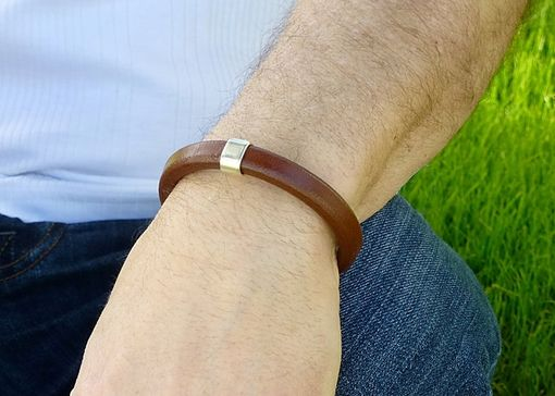 Custom Made Male Chocolate Brown Licorice Leather Bracelet