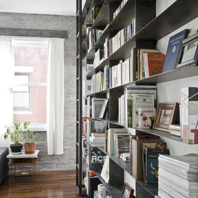 handmade minimal blackened steel bookshelves with rolling library ladder by mato custommadecom - Metal Library Bookshelves