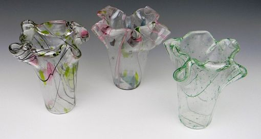 Custom Made Contemporary Fused Decorative Glass Vases For Home Or Office.