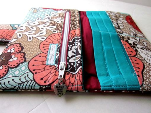 Custom Made Handmade Women Wallet Floral Patch Warm Colors