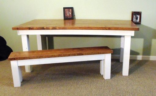 Custom Made Rustic Farmhouse Dining Table Antique White With Early American Top