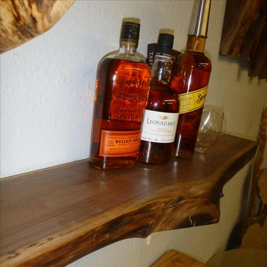 Custom Made Whiskey Shelf -- Walnut -- Live Edge