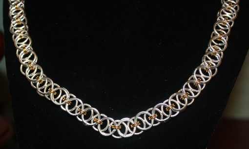 Custom Made Helmsweave Chainmaille 18 Inch Necklace With Gold Plate Accent Rings