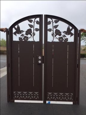 Custom Made Humming Bird Gate Dual Entry  Steel Garden Walk Thru Pedestrian Urban Gate