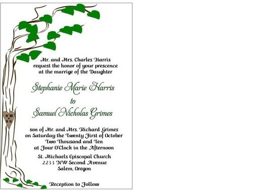 Custom Made 100 Fun Nature Inspired Wedding Invitation Sets With Tree Outline And Your Initials Carved In Trunk