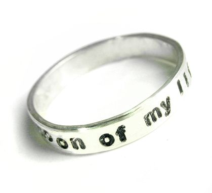 Custom Made Sterling Silver Or 14k White Gold Ring, Hand Stamped With 'Moon Of My Life' - Customizable