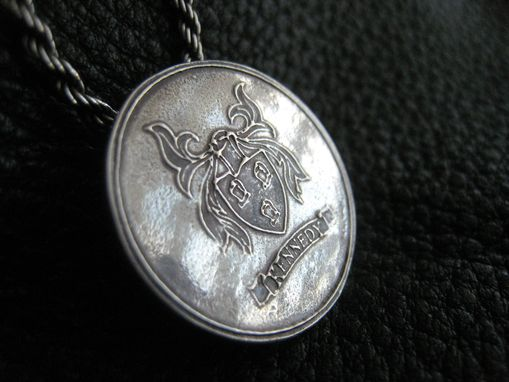 Custom Made Family Crest Coat Of Arms Heraldry Medallion Pendant In Fine Silver