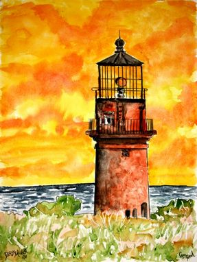 Custom Made Landscape, House And Lighthouse Watercolor Paintings