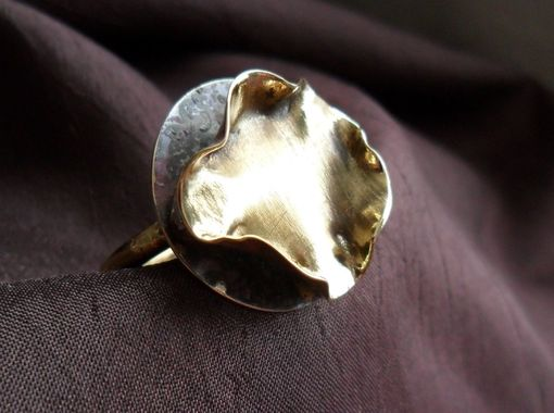 Custom Made Ruffled Brass And Sterling Silver Ring