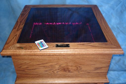 "Custom Made ""Infinity"" Optical Illusion End Table With Cork ""Dna"" Design And Remote Control."