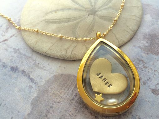 Custom Made Personalized Locket Necklace, Heart Necklace, Floating Locket, Custom Name Necklace