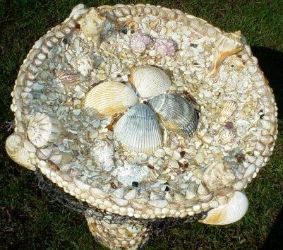 Custom Made Hawaiian Sea Shell Birdbath