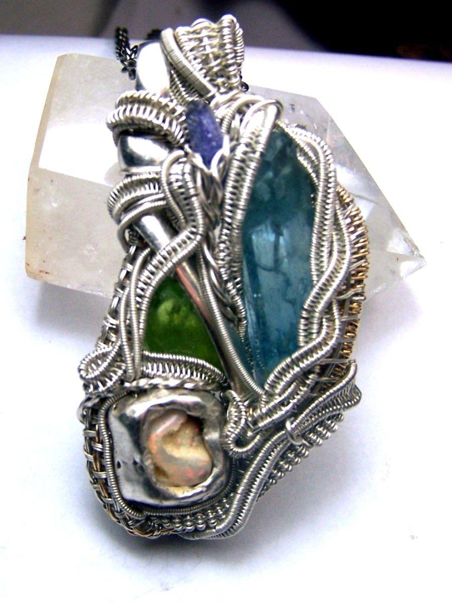 Handmade Aquamarine Tanzanite Peridot Opal Sterling Silver 14 Karat ...