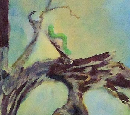 Custom Made Bird Painting, Wildlife Painting: Fantasy Bird Looking At An Inchworm, Acrylic On Canvas