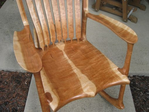 Custom Made Curly Black Cherry Rocking Chair