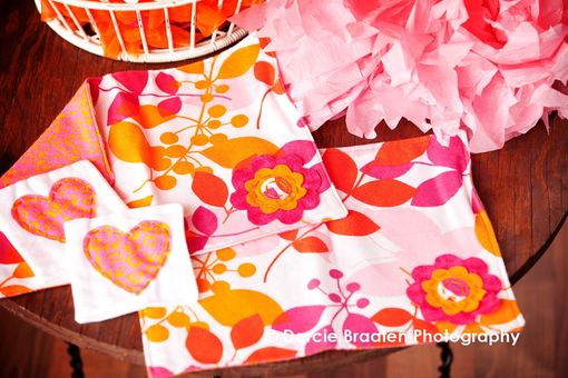 "Custom Made Soft Flannel Placemats And Table Napkins ""Orange Sherbet''"