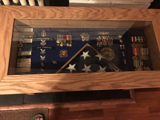 Custom Made Solid Oak Military Retirement Shadow Box Table