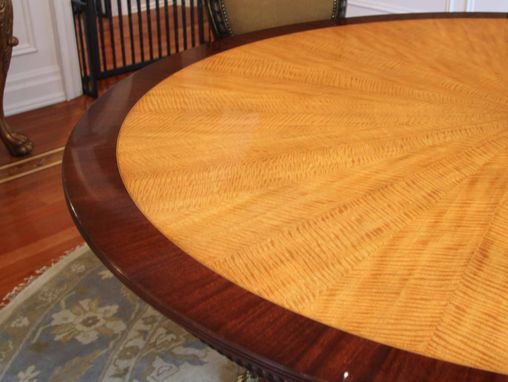 Custom Made American Made Satinwood And Mahogany 84 Inch Round Pedestal Dining Table