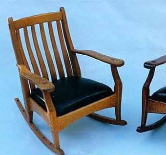Custom Made Lace Wood And Leather Rocking Chairs