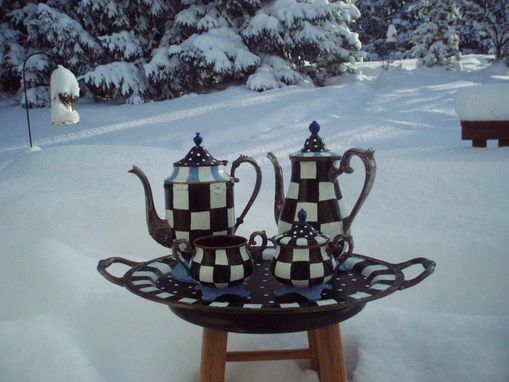 Custom Made Custom Hand Painted Silver Tea Set