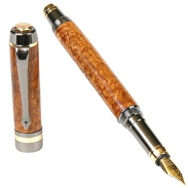 Custom Made Lanier Elite Fountain Pen - Afzilia Snakeskin - Fe7w02