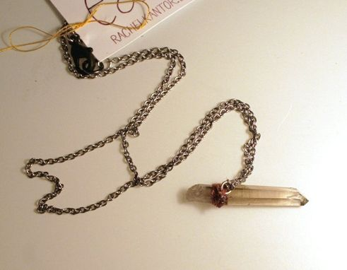 Custom Made Smoke Quartz Necklace Necklace With Red Embroidery On An Antique Silver Chain