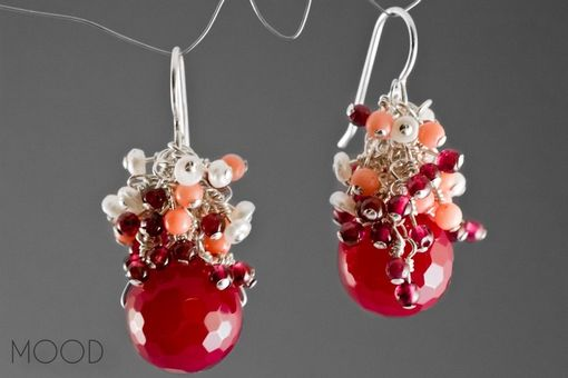 Custom Made Cranberry - Raspberry Agate, Freshwater Pearl, Coral, Garnet, And Sterling Silver Red Cluster Earrings