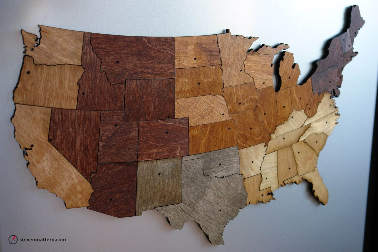 Custom Wall Decor And Mirrors CustomMadecom - Large wood us map puzzle