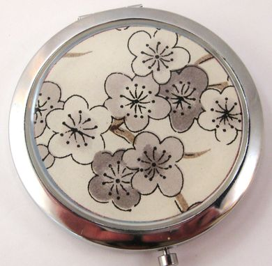 Custom Made Foldable Purse Hook With Grey Plum Blossoms Design