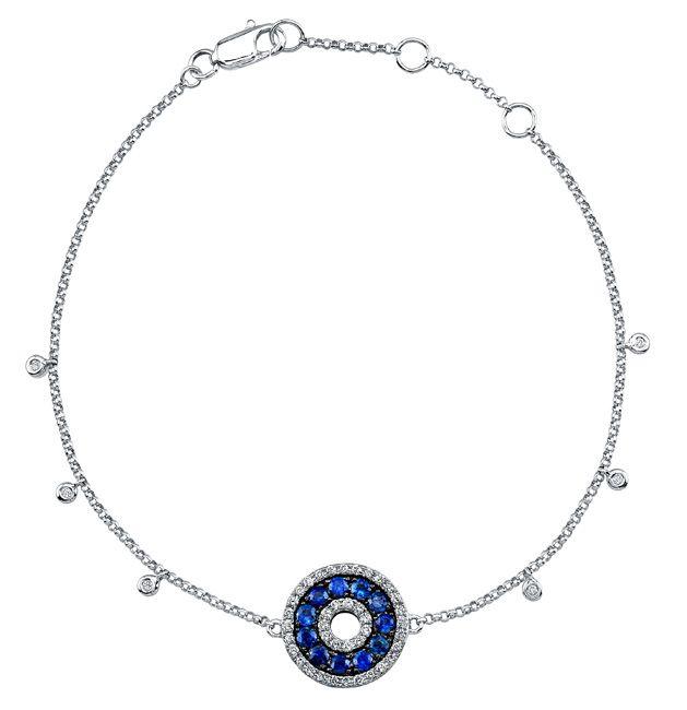 Custom Made 14k White Gold Diamond Shire Evil Eye Bracelet