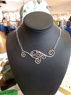 Custom Made Amethyst And Garnet Sterling Silver Swirls Necklace