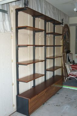 Custom Made Exotic Wood & Metal Shelf And Storage Unit