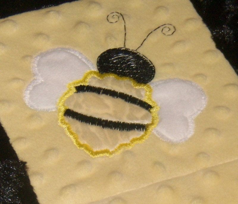Custom Made Black And Yellow Ble Bee Patchwork Baby Blanket