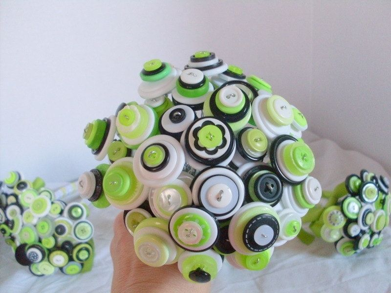 Hand Made Lime Green Buttons Bridal Bouquet by Angela\'s Artistic ...