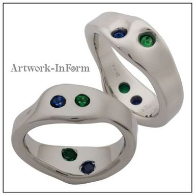 Custom Made White Gold Ring With Sapphire And Tsavorite Garnet
