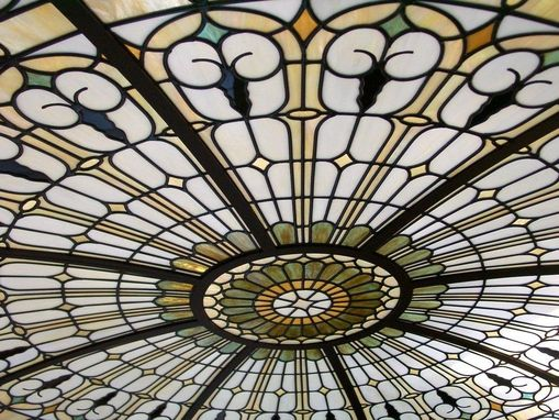 Custom Made Stained Glass Illuminated Dome Ceiling