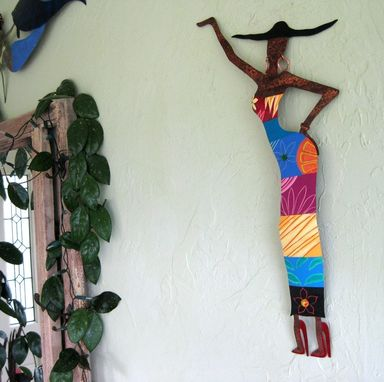 Custom Made Handmade Upcycled Metal Exotic African Lady Wall Art Sculpture In Colorful Dress