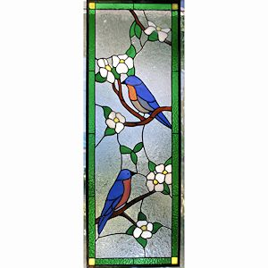 Custom Made Stained Glass Panel - Bluebirds In Dogwood Tree