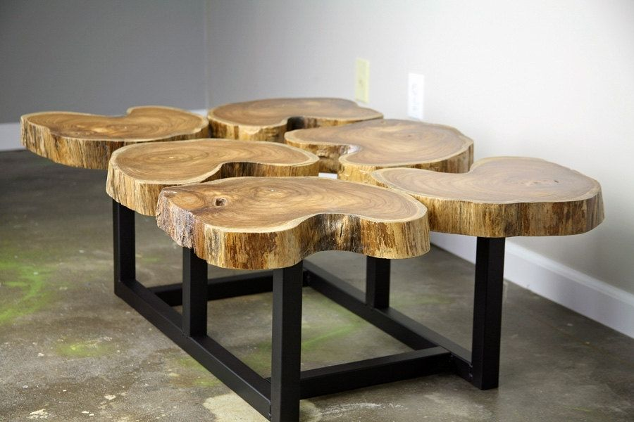 Funky Coffee Table, Natural Teak Wood, Slab/Crosscut Modern/Urban ...