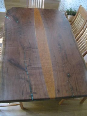 Custom Made Natural Live Edge Walnut Slab Table