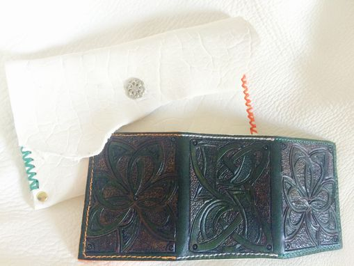 Custom Made Celtic Shamrock Leather Trifold Wallet With Irish Flag Interior