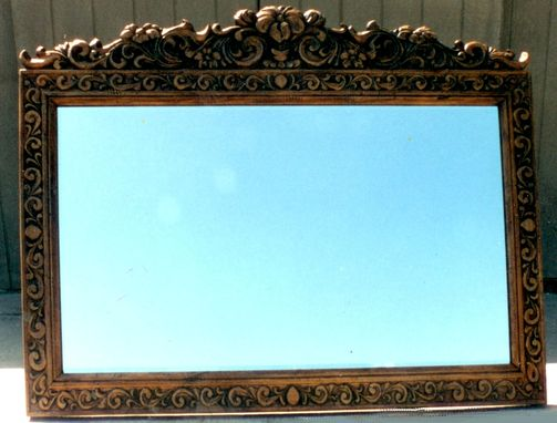 Custom Made Hand Carved Pine Mirror