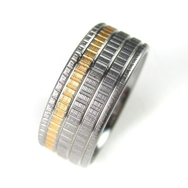 Custom Made Woven Texture Gold Inlay Ring